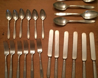 1847 Rogers Bros Silverplate Flatware - Six Place Settings Plus Four Additional Large Spoons