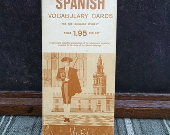 Box of 1000 Vintage Spanish Vocabulary Cards From Vis-Ed
