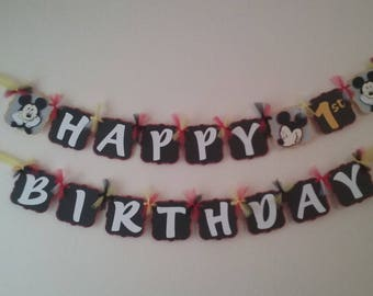 Mickey Mouse Birthday Package-Mickey Mouse 1st birthday- Mickey Mouse Birthday Banner-