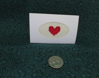 Hand stitched Red Heart Gift Tag