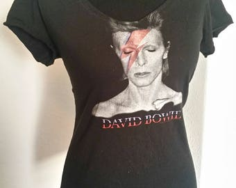 David Bowie ladies upcycled band shirt - ladies fitted tshirt with scoop neck. Available in XS S M or L