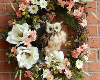 SALE - Large Owl Wreath, Rustic Owl Wreath, Summer Wreath, Peach Blossoms, Dogwood, Magnolia Wreath, owl decor, Door Hanging, Spring