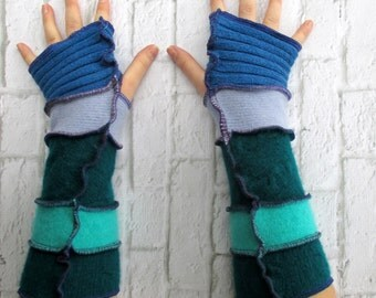 Fingerless Gloves - Hippy Hippie Style Apparel - Cobalt Teal - Bohemian Inspired Boho - Ecofriendly Recycled Clothes - Creative Reuse