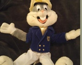 "BUGS BUNNY Ship Boat Yacht Captain 50TH BIRTHDAY 24K Bendable 1990 18"" Plush Toy"