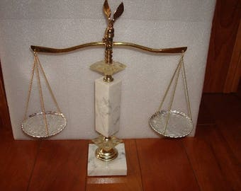 """Brass White Marble And Aluminum Scales Of Justice / Balancing Scale With Eagle Finale Usable 15"""" Tall"""