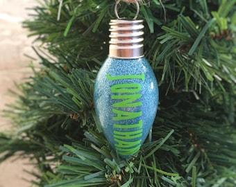 Personalized Christmas Ornament - Christmas Decoration - Glitter Ornaments - Family Christmas Ornament - Lightbulb Ornaments - Holiday Decor