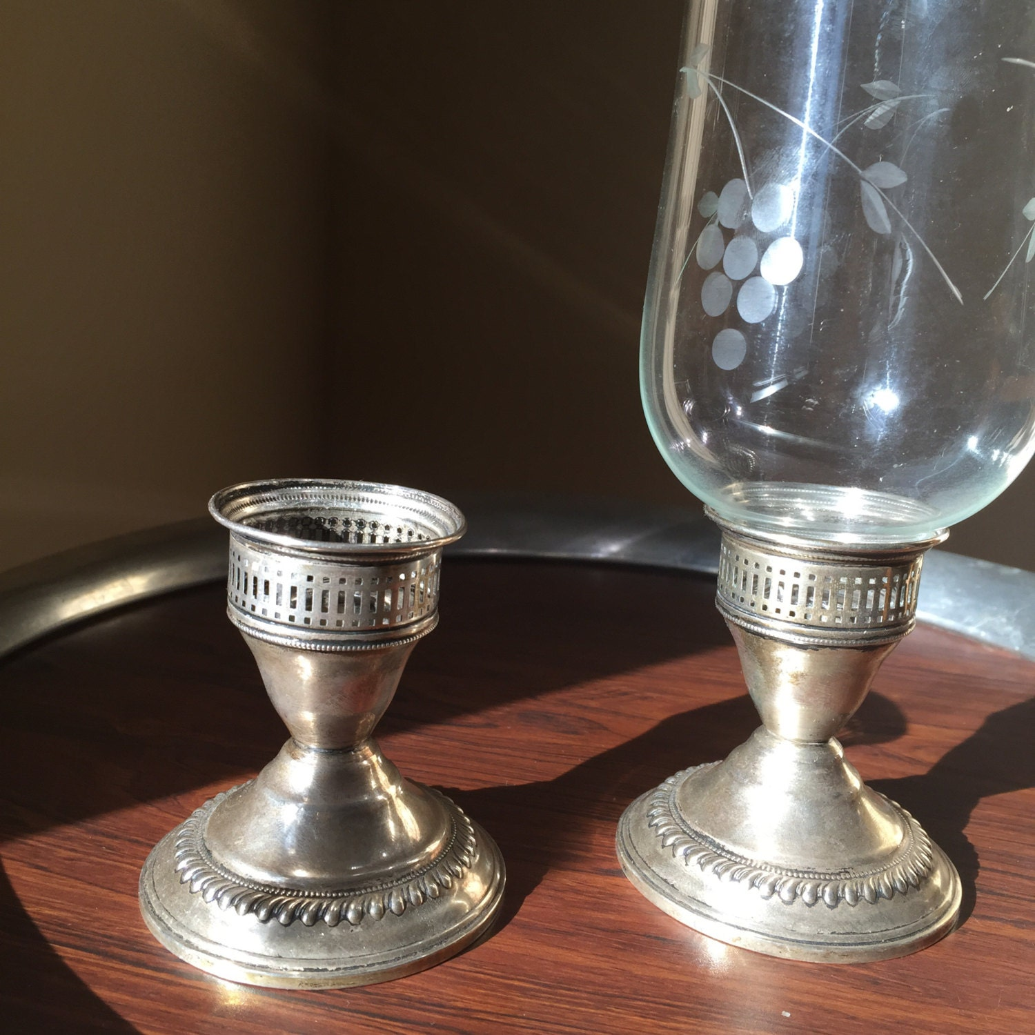 Vintage Sterling Silver Candle Holders Hurricane Lamps Etched