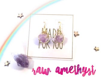 Magical Energy Earrings - Raw Amethyst