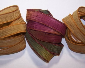 3 Pack Special Sale/Silk Ribbons/Hand Dyed/Wrist Wraps/Sassy Silks/Ready to Ship/ See Description for Details/101-0418
