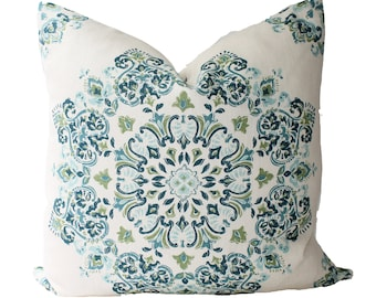 Decorative Designer Kravet Suzani Medallion, Blue Pillow Cover, 18x18, 20x20, 22x22 or Lumbar Throw Pillow