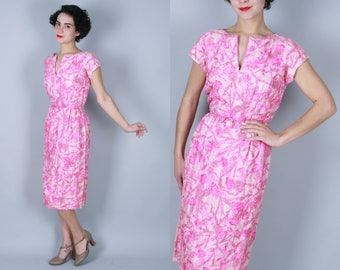 1950s Malcolm Starr dress | vintage 50s pink beaded sheath dress | extra small
