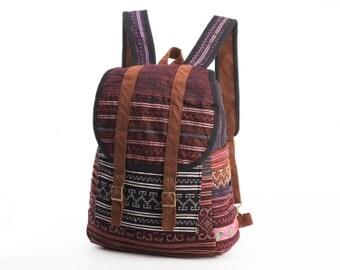 Magenta/ Pink/ Purple Backpack Ethnic Tribal Needlework Boutique Floral Rucksack