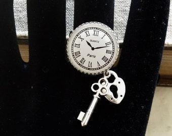 Steampunk clock silver ring