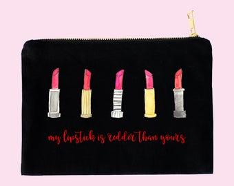 red lipstick makeup bag - makeup bag - cosmetic bag  - unique makeup bag - lipstick bag - glam makeup bag - cotton beach bag