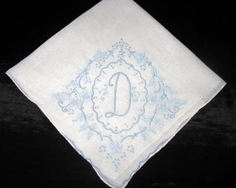 Bride Hanky Handkerchief Hankie Embroidered F, B, N, D, R or A Wedding Hankerchiefs Bridal Shower Gift