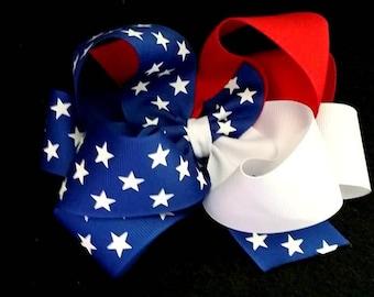Flag Hair Bow...Flag Pinwheel Bow....Flag Boutique Bow...Flag Bow..4th of July Bow...Patriotic Bow.