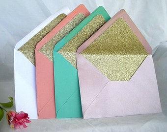 Glitter Envelopes Gold Glitter Lined Envelope Wedding Invitation Any Color Modern Turquoise Metallic Pink Coral White A7 Custom Envelope