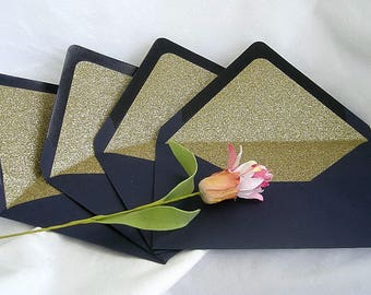Wedding Invitation Glitter Line Envelope Gold Glitter Lined Navy Envelope Any Color Modern A7 Custom Glittern Lined Envelopes Envelope