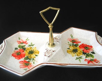 California Originals Pottery Party Server with Red and Yellow Flowers Two Part Snack Bowl Vintage 1960s