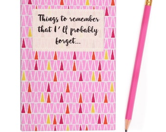 A6 Small Fabric Covered 'Things to Remember' Ruled Notebook - Geometric Pink