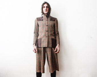 Vintage Tweed Jacket Trousers 1960s Womens Outfit Retro Tweeded Classy Designer Made In Italy