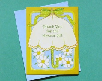 Vintage Drawing Board THANK You for the SHOWER Gift Cards - Set of 8 - DAISY - New Old Stock - 1970s