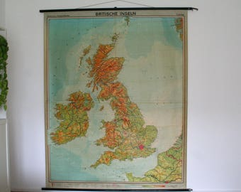 LARGE British Isles. Vintage. Large Pull-down Chart. Poster. Map.  (710)