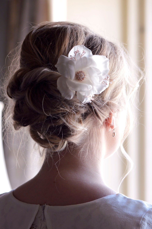 Rose gold wedding hair accessories - Wedding Hair Flowers Rose Gold Accessories Bridal Hairpiece Hair Accessories Rose Gold Crystal Flowers Hair Pins Silk White Rose