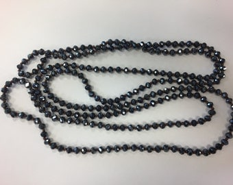 """6mm rondelle crystal knotted necklace , around 59-60"""", 1 pc, (LONG)"""