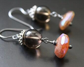 Smoky quartz and AB hessonite garnet earrings iridescent earrings oxidized sterling earrings Bali sterling earrings tribal boho earrings