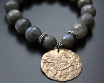 Labradorite Bracelet, Pegasus Charm Bracelet, Believe Quote Charm Bracelet, Green Girl Studios Charm Bracelet, Gift For Her, Boho Bracelet