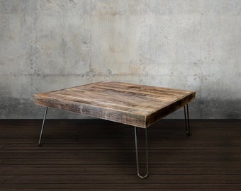 Reclaimed Wood Coffee Table Smaller Square Steel Framed Table