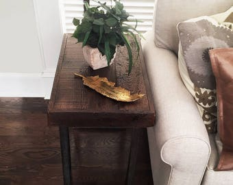 Reclaimed Wood and Metal End Table, Darl Walnut Stain