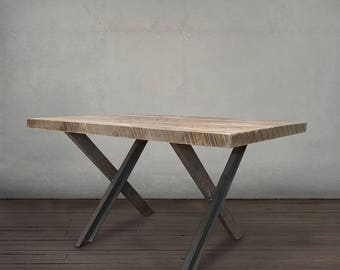 Dining Table, Wood and Metal Kitchen Table, Reclaimed Top, Steel Legs