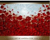 SALE Original Modern Red Poppies  Flowers  Nature  Landscape Impasto Palette Knife  Painting Made2Order .. Size 36 x 24.