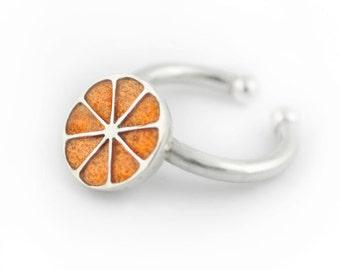 Half orange Ring, Fruit ring, adjustable silver ring, Orange ring, food jewelry, Enamel ring