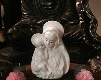 Vintage Mary, Madonna porcelain statue, mother and child