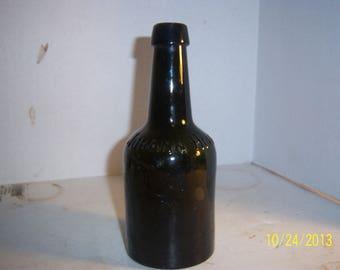 1880's Johann Hoff Olive Green 7 3/8 inch beer  Ale bottle No 3