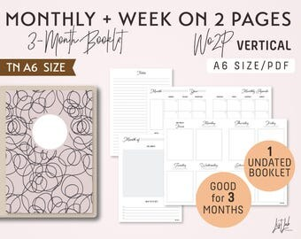 A6 Monthly-Week on 4 Pages Vertical Unlined Printable Booklet Insert - Good for 3 Months - fits Traveler's Notebook A6 Size