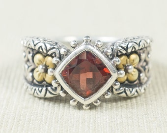 Trendy Colorful 925 Sterling Silver & 18K Yellow Gold Princess Cut Red Garnet Gemstone Flower Motif Oxidized Statement Ring FREE SHIPPING!
