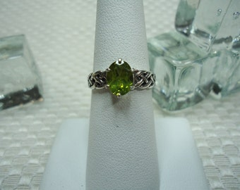 Oval Cut Peridot Ring in Sterling Silver  #1928
