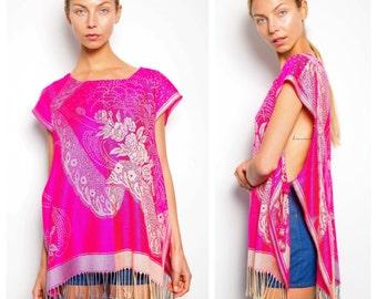 S.A.L.E. was 100 now 50 lush vintage 70s/80s hot pink cashmere pashmina tunic tie top