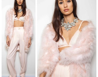 S.A.L.E was 660 now 550 glam vintage 30s/40s baby pale pink ostrich marabou feather coat jacket