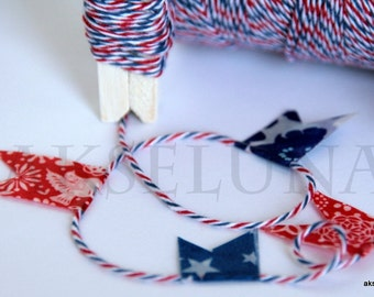 Eco-luxe multi-colored twine, baker twine, blue/red/white, gift twine  10,9 yd