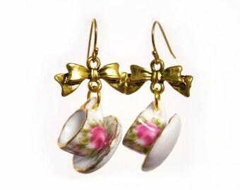 Tea Cup Earrings, Tea Jewelry, Teacup Earrings, Tea Party Outfit, Tea Party Favors, Tea-Lover Gift, Tea Gifts, Dangle Earrings, Teatime