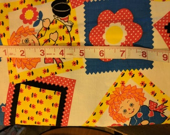 """Vintage Fabric Raggedy Ann and Andy Cotton Blend 44 'by  40  """" Retro Craft Tb3"""