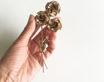 Vintage Napier Gold Tone Flower Brooch