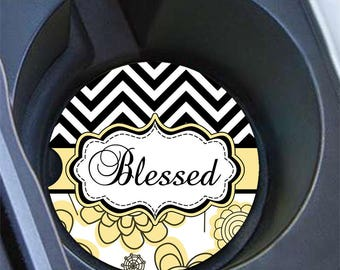 Personalized car coaster, Black chevron yellow floral Flowers, Floral car cup holder coaster, Pretty car decor, Gifts for her  (1293)