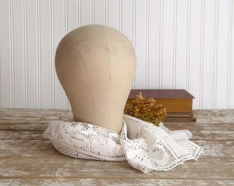 Vintage Millinery Hat Form, Canvas Head Form, Cloth Millinery Mannequin Head, Wig Form