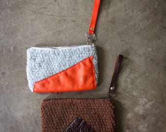 Crochet Felted Wool & Leather Zippered Clutch Handbag Purse